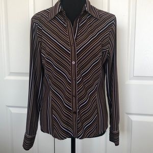 Brown Striped Dress Shirt